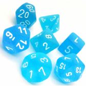 Caribbean Blue & White Frosted Polyhedral 7 Dice Set
